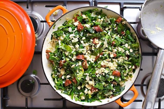 Chorizo with spring greens Recipe