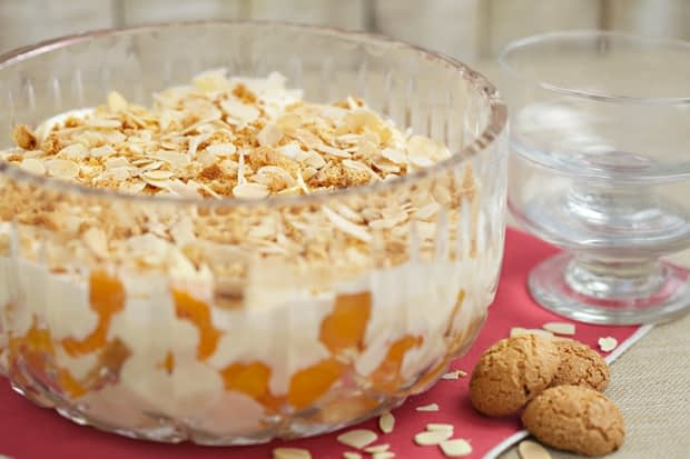Ameretti and Apricot Trifle