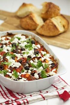Aubergine and feta bake recipe