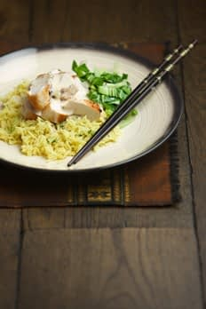 Pan Fried Chicken with coconut sauce and pak choi
