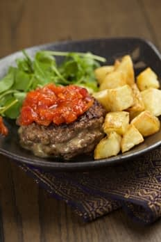 Home made blue cheese beef burgers